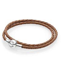 PANDORA - Moments Double Woven Leather Bracelet, Brown - Lyst