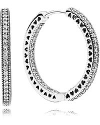 PANDORA - Hearts Of Hoop Earrings - Lyst