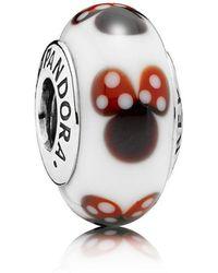 PANDORA - Disney, Classic Minnie Murano Charm - Lyst