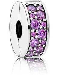 PANDORA - Fancy Purple Shining Elegance Spacer Clip - Lyst