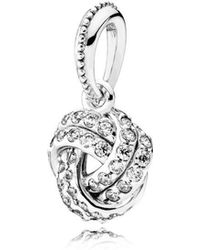 PANDORA - Sparkling Love Knot Pendant Charm - Lyst