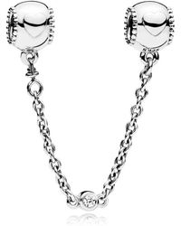 PANDORA - Embossed Hearts Safety Chain - Lyst
