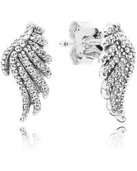 PANDORA - Majestic Feathers Stud Earrings - Lyst