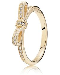 PANDORA - Delicate Bow Ring - Lyst