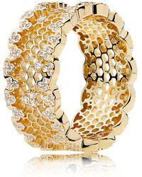 PANDORA - Honeycomb Lace Ring - Lyst
