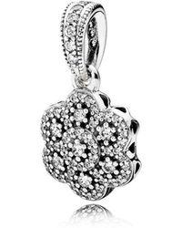 PANDORA - Crystallised Floral Pendant - Lyst