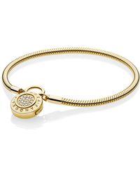 PANDORA - Moments Shine Logo Padlock Clasp Bracelet - Lyst