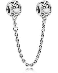 PANDORA - Enchanted Heart Safety Chain - Lyst