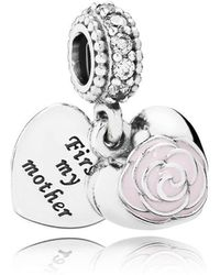 PANDORA - Mother's Rose Pendant Charm - Lyst
