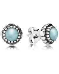 PANDORA - March Birthstone Stud Earrings - Lyst