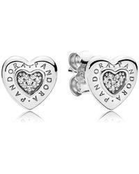 PANDORA - Logo Heart Stud Earrings - Lyst