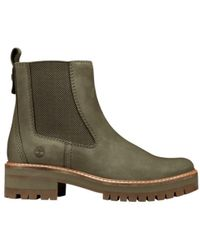 Timberland - Courmayeur Valley Olive Leather Chelsea Pull On Ankle Boots - Lyst