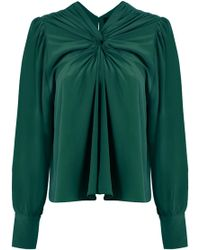 Isabel Marant - L/s Leonore Gathered Circle Blouse Green - Lyst