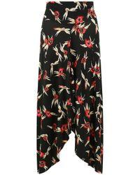 Isabel Marant - Dracen Flower Print Skirt Black/red - Lyst