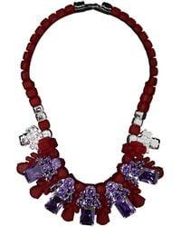 EK Thongprasert - Silicone Five Jewel & Metal Neckpiece Red/amethyst Crystals - Lyst