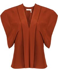 Chloé - Draped Silk Crepe De Chine Blouse - Lyst