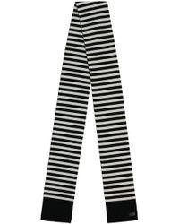 Saint Laurent - Cashmere Stripe Knit Scarf Black/white - Lyst