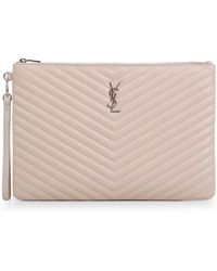Saint Laurent - Monogramme Large Quilted Pouch Marble Pink - Lyst