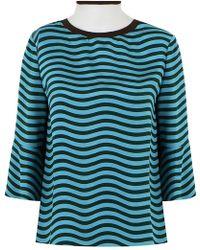 Fendi - Ruffled-front Striped Silk-cady Blouse - Lyst