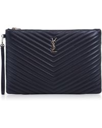 Saint Laurent - Monogramme Large Quilted Pouch Marine/silver - Lyst