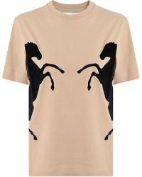 Chloé - S/s Horse Print T-shirt Sandy Beige - Lyst