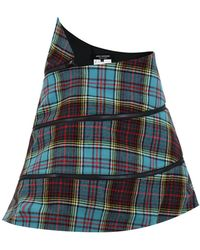 Junya Watanabe | Structured Tartan Check Mini Skirt Blue | Lyst