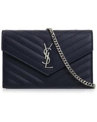 Saint Laurent - Monogramme Envelope Quilted Chain Wallet Marine/silver - Lyst