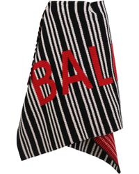 Balenciaga - Logo Knit Wrap Skirt Black/white/red - Lyst