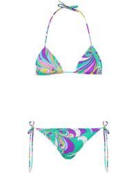 Emilio Pucci - Triangle Bikini Green/purple - Lyst
