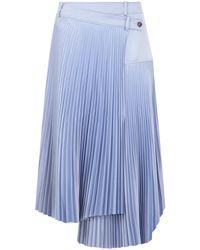 Cedric Charlier Pleated Wrap Skirt Blue
