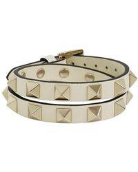 Valentino - Rockstud Wrap Leather Cuff Light Ivory - Lyst
