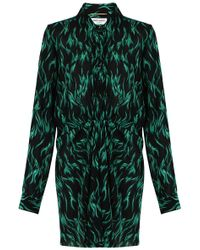 Saint Laurent | Flame Print Shirt Dress Black/peacock | Lyst