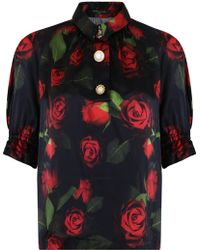 Mother Of Pearl - S/s Petra Rose Print Ruched Arm Shirt Red - Lyst