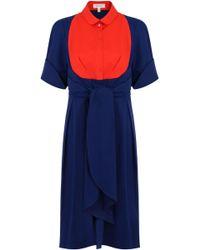 Delpozo - S/s Contrast Bib Shirt Dress Indigo Blue - Lyst