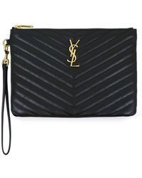 Saint Laurent - Small Monogramme Quilted Pouch Black/gold - Lyst