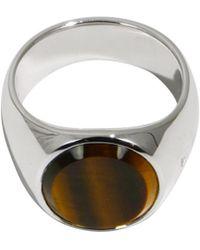 Tom Wood - Tiger Eye Oval Ring Silver - Lyst