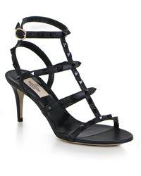 9e0a6dd142 Valentino - Rockstud Four Strap 70mm Sandal Black - Lyst