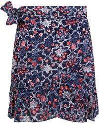 Isabel Marant Etoile Tempster Mini Skirt Ruffle Midnight Print - Blue