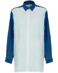 Junya Watanabe | Long Sleeve Denim Shirt Dress With White Embroidery | Lyst