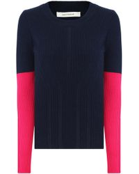 Cedric Charlier Contrast Sleeve Knit L/s Navy/pink - Blue