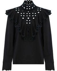 5859e57262e383 Fendi - High Neck Embroidered Blouse Black - Lyst