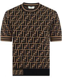 Fendi - Ff Logo Knit Top S/s Tobacco - Lyst