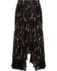 Isabel Marant - Wilny Pleated Flower Print Skirt Black/red - Lyst