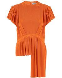 Balenciaga - Frill Cap Sleeve Pleat Top Orange - Lyst