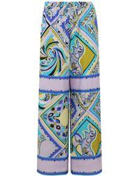 Emilio Pucci - Aztec Print Wide Leg Pant Turquoise - Lyst