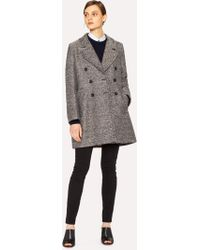 Paul Smith - Black And White Tweed Cocoon Coat - Lyst