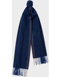 Paul Smith - Navy Two-Tone Stripe Lambswool And Cashmere Scarf - Lyst