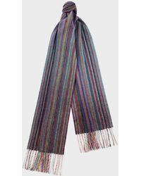 Paul Smith - Blue Muted Signature Stripe Cashmere Scarf - Lyst