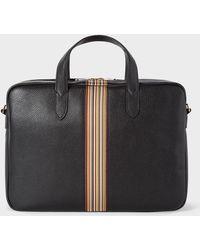 Paul Smith - Black Signature Stripe Slim Leather Business Folio - Lyst
