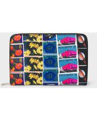 Paul Smith - Medium 'Stamps' Print Leather Zip-Around Purse - Lyst